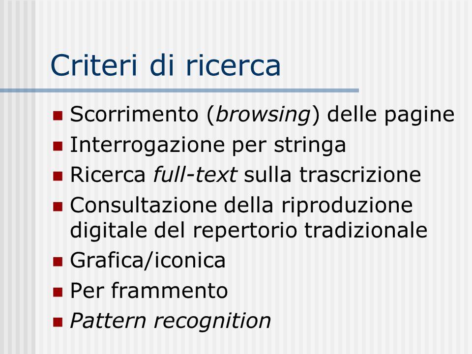 Criteri di ricerca Scorrimento (browsing) delle pagine