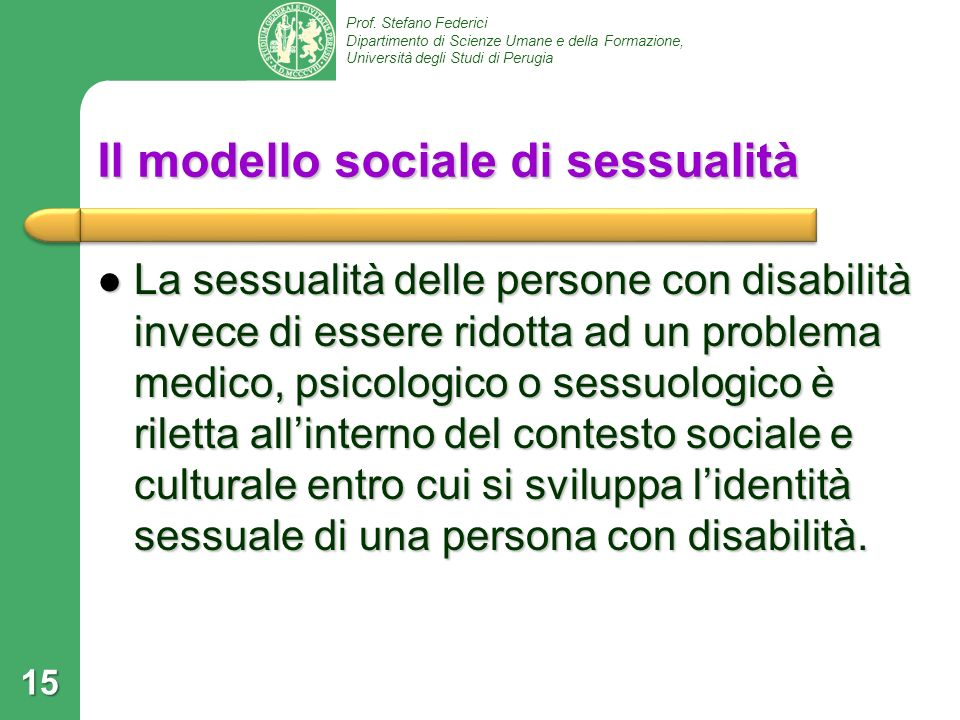 Il modello sociale di sessualità