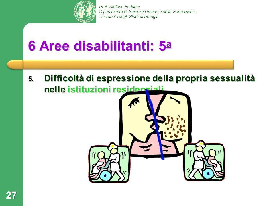 6 Aree disabilitanti: 5a Difficoltà di espressione della propria sessualità nelle istituzioni residenziali.