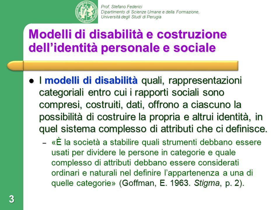 Modelli di disabilità e costruzione dell'identità personale e sociale