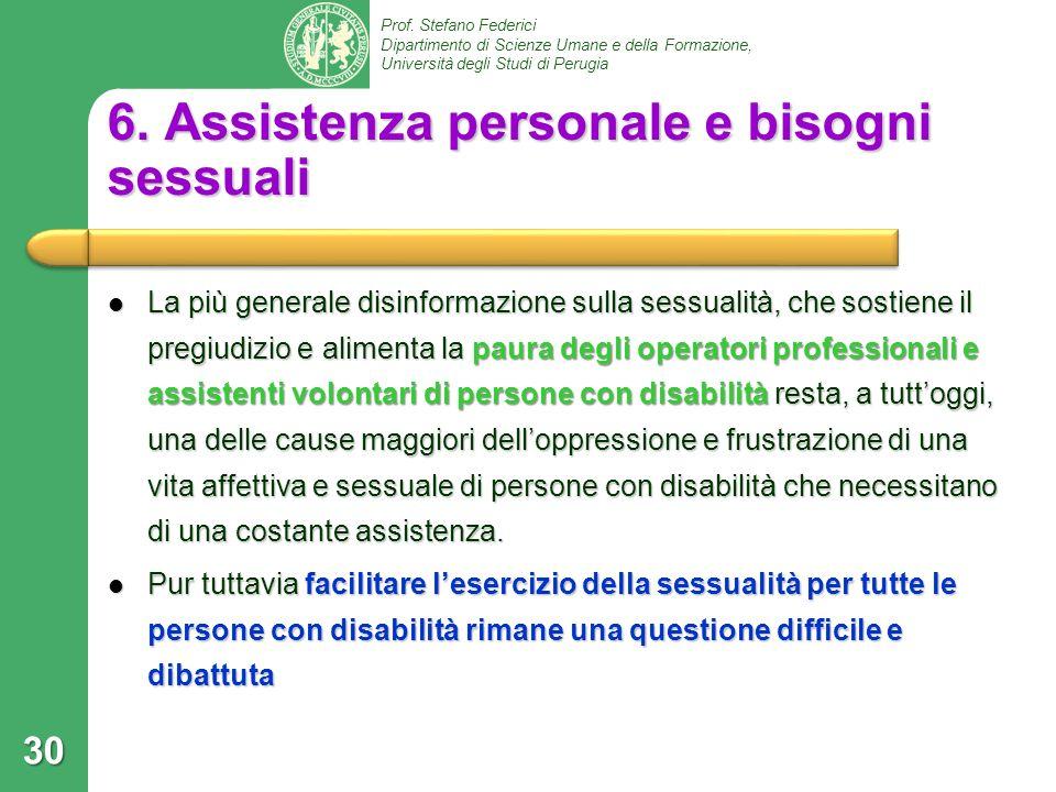 6. Assistenza personale e bisogni sessuali