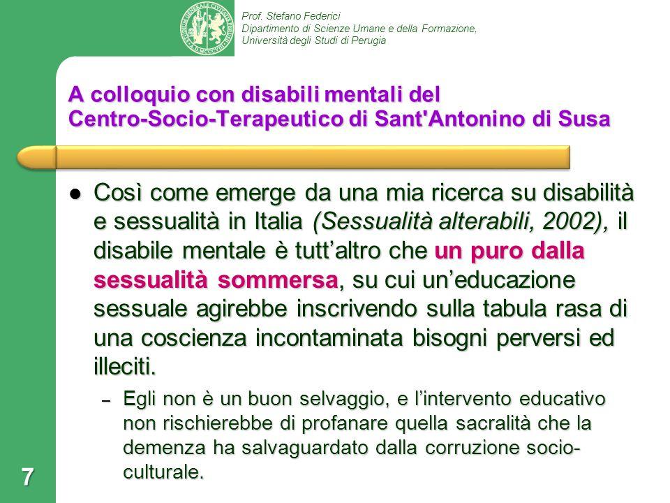 A colloquio con disabili mentali del Centro‑Socio‑Terapeutico di Sant Antonino di Susa