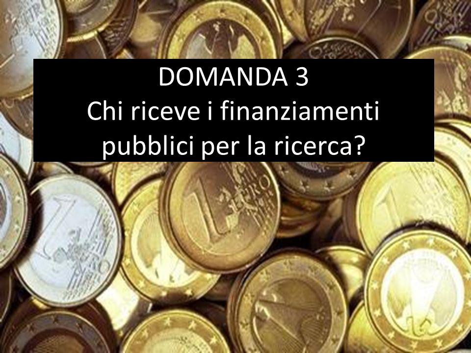 DOMANDA 3 Chi riceve i finanziamenti pubblici per la ricerca