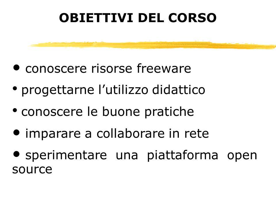 OBIETTIVI DEL CORSO conoscere risorse freeware. progettarne l'utilizzo didattico. conoscere le buone pratiche.