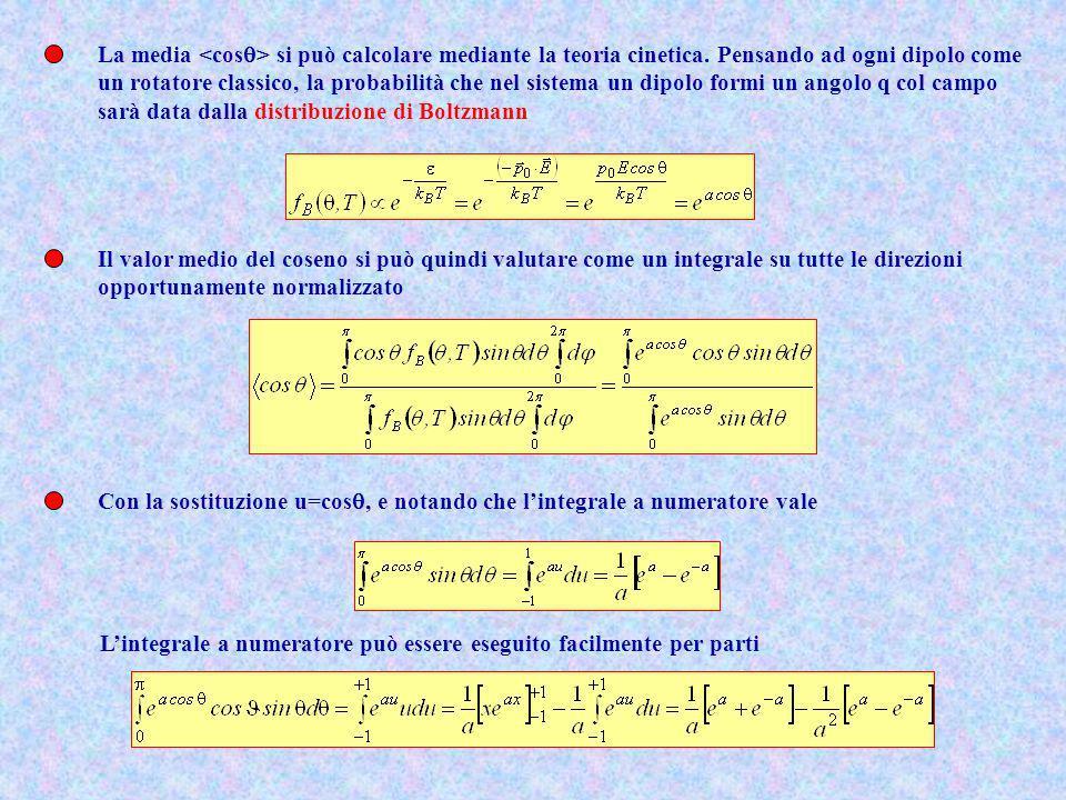 La media <cosq> si può calcolare mediante la teoria cinetica