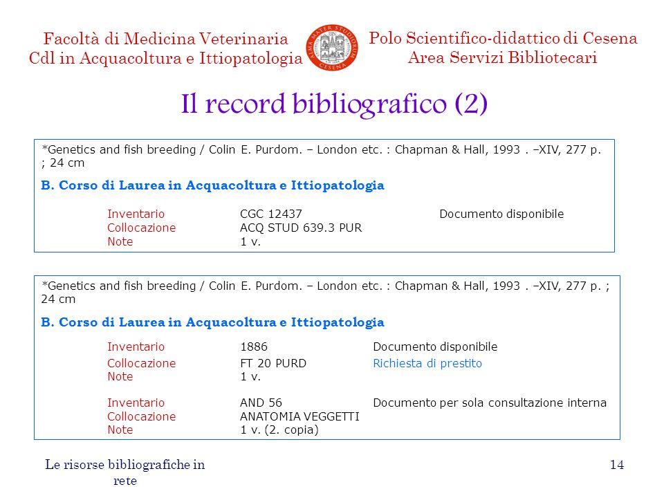 Il record bibliografico (2)