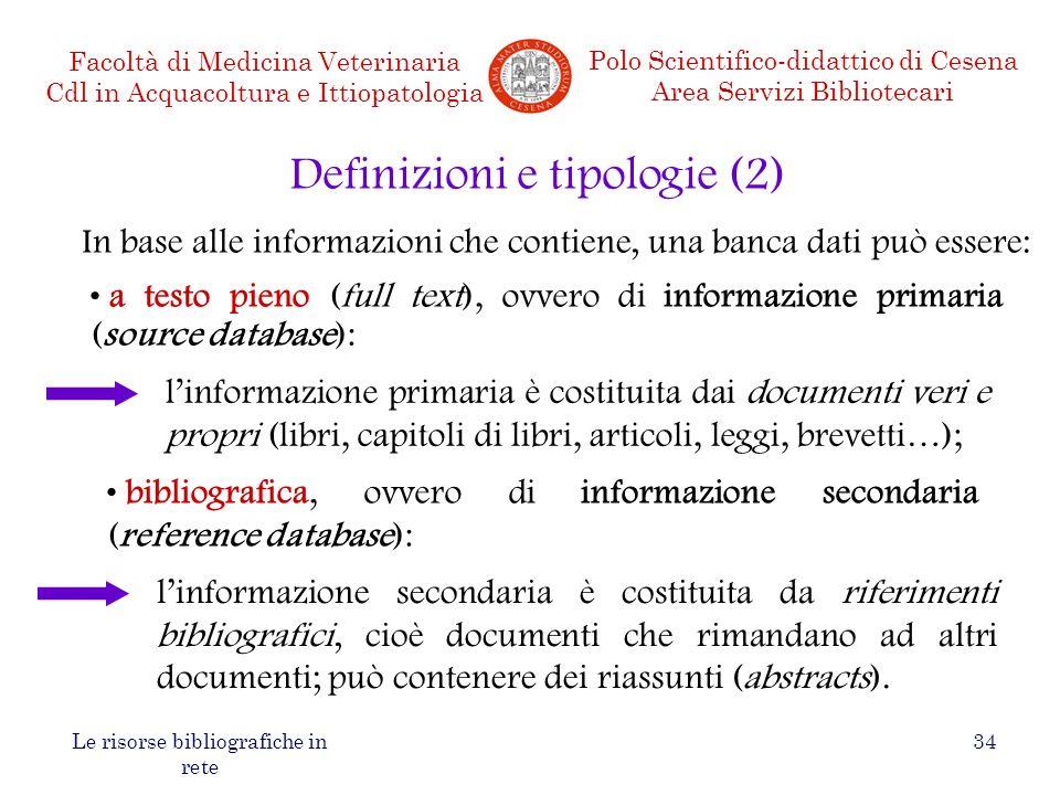 Definizioni e tipologie (2)