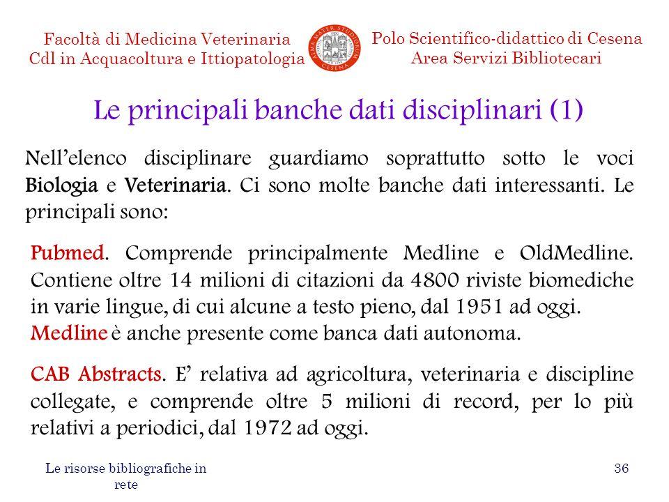 Le principali banche dati disciplinari (1)