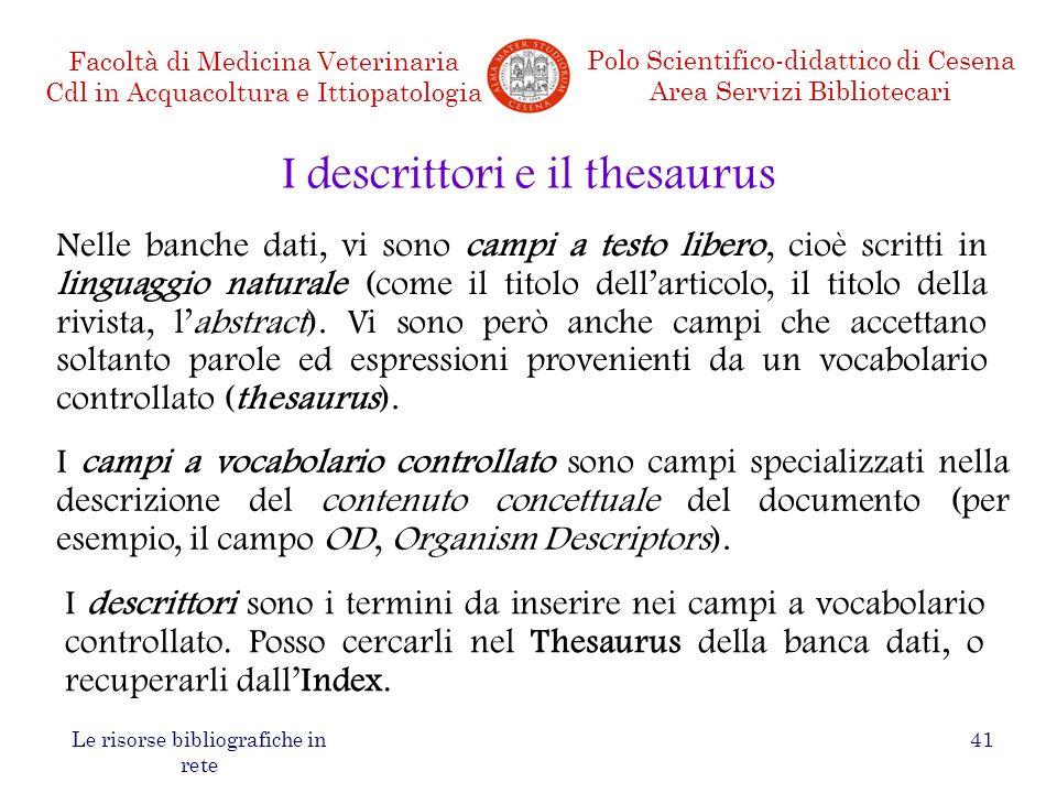 I descrittori e il thesaurus