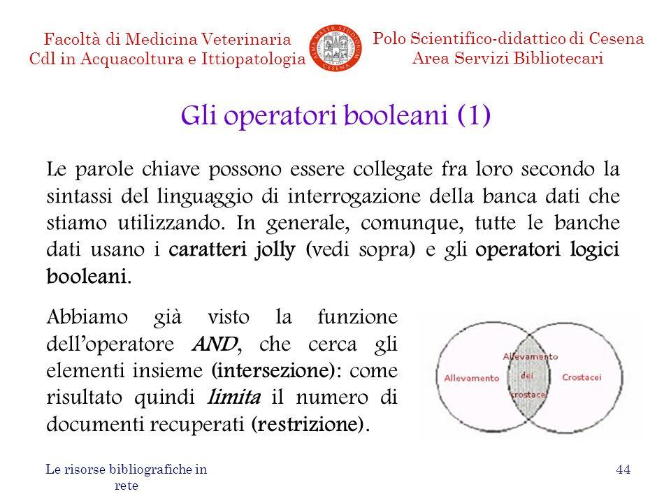 Gli operatori booleani (1)