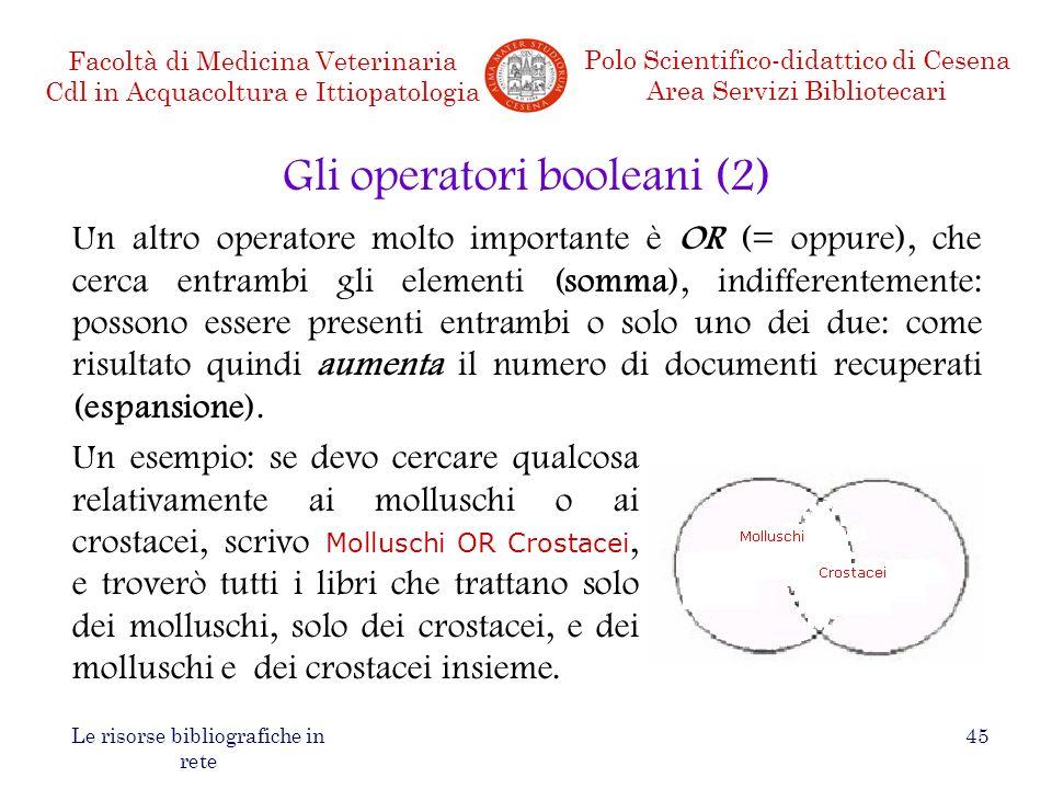 Gli operatori booleani (2)