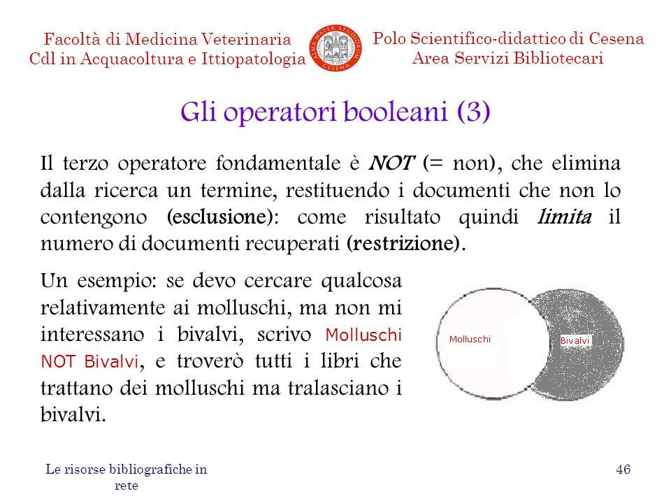 Gli operatori booleani (3)