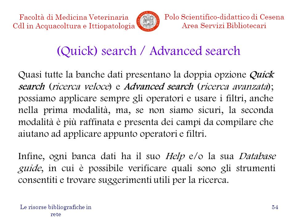 (Quick) search / Advanced search