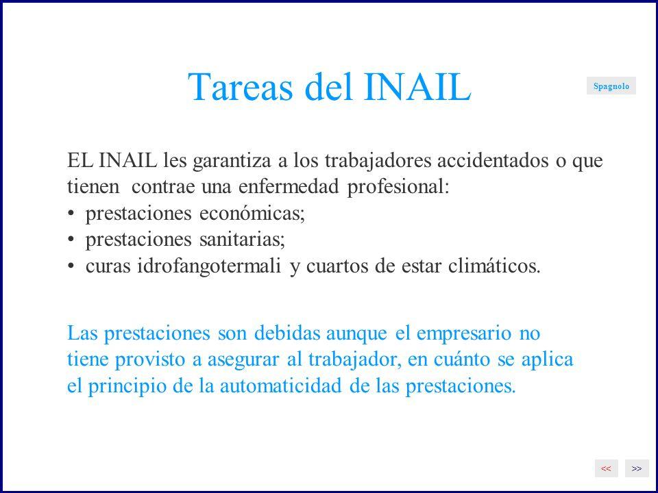 Tareas del INAIL Spagnolo. EL INAIL les garantiza a los trabajadores accidentados o que. tienen contrae una enfermedad profesional: