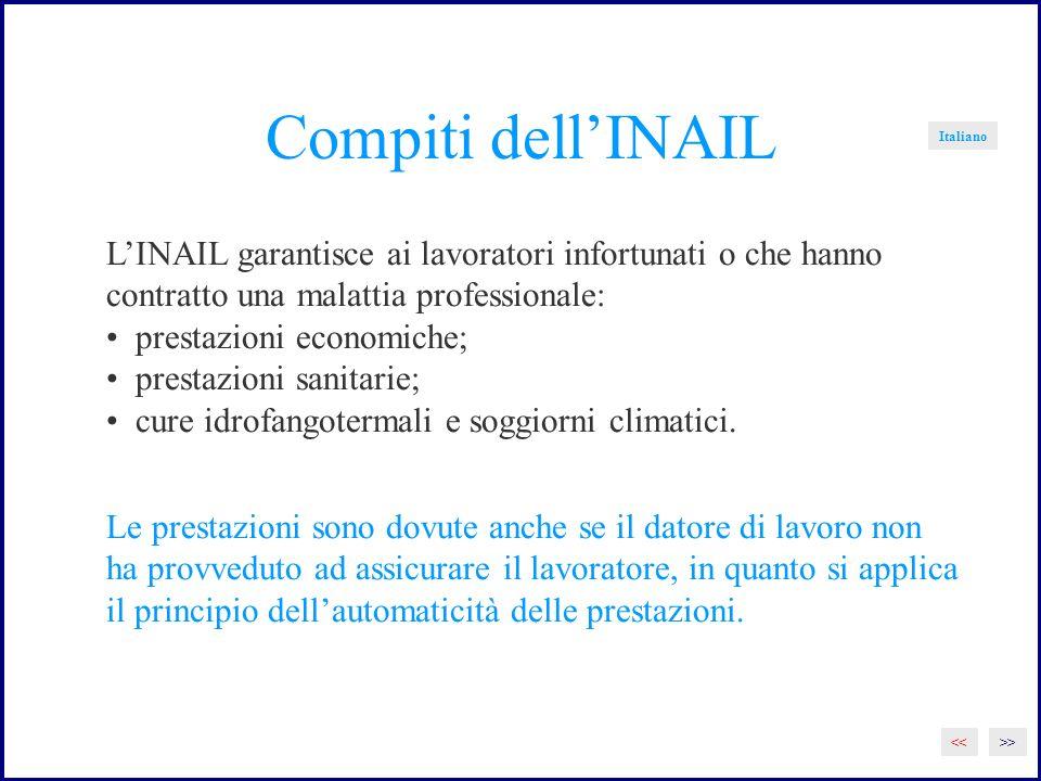 Compiti dell'INAIL Italiano. L'INAIL garantisce ai lavoratori infortunati o che hanno. contratto una malattia professionale: