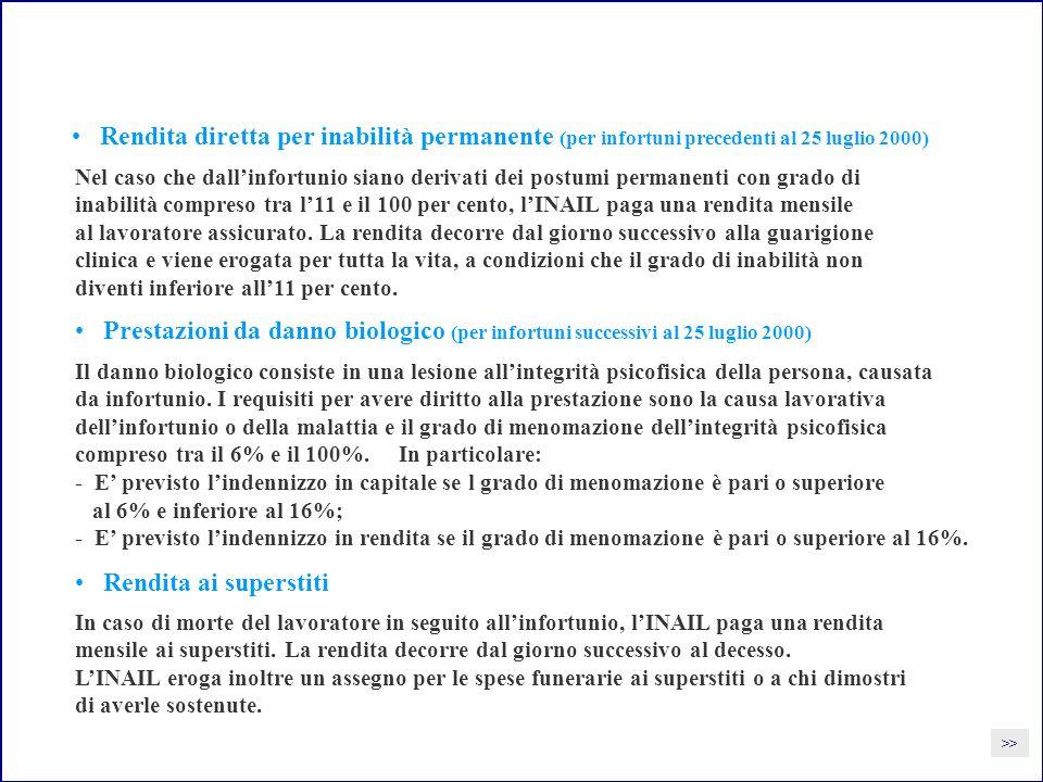 Rendita diretta per inabilità permanente (per infortuni precedenti al 25 luglio 2000)