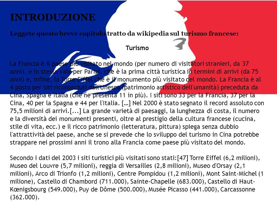 INTRODUZIONE Leggete questo breve capitolo tratto da wikipedia sul turismo francese: Turismo.