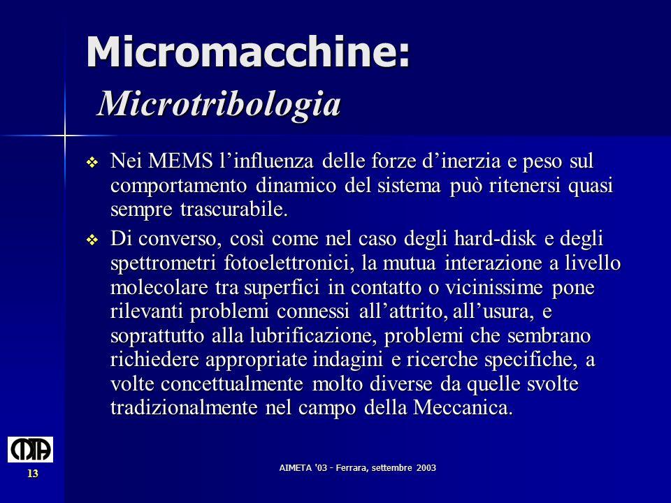 Micromacchine: Microtribologia