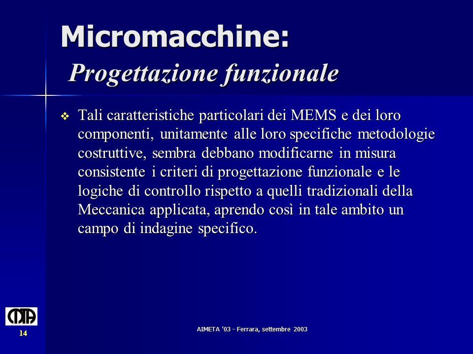 Micromacchine: Progettazione funzionale