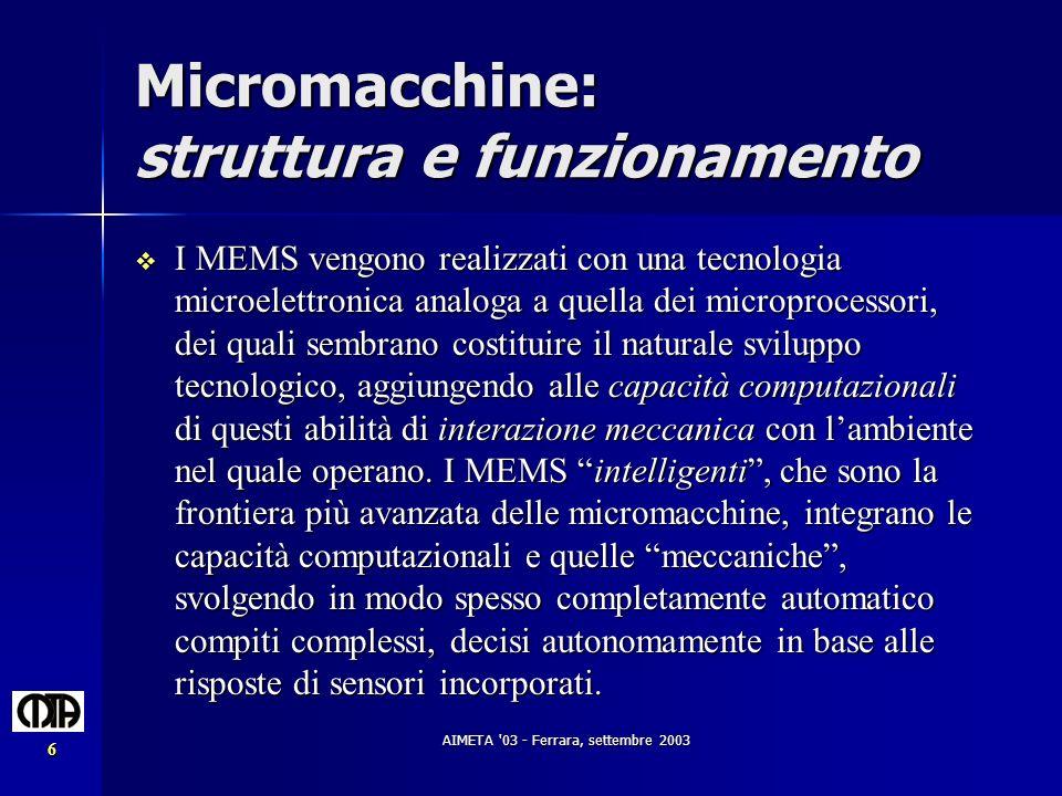 Micromacchine: struttura e funzionamento