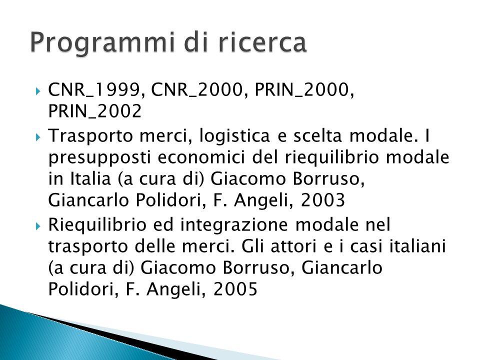 Programmi di ricerca CNR_1999, CNR_2000, PRIN_2000, PRIN_2002