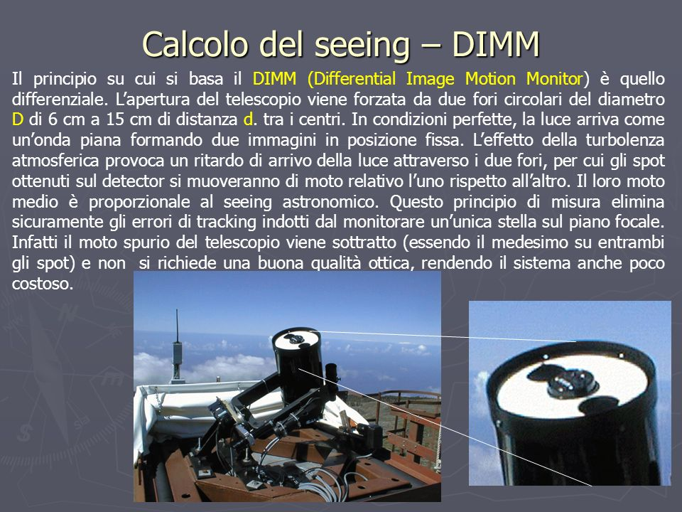 Calcolo del seeing – DIMM