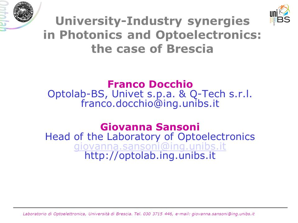 University-Industry synergies in Photonics and Optoelectronics: the case of Brescia