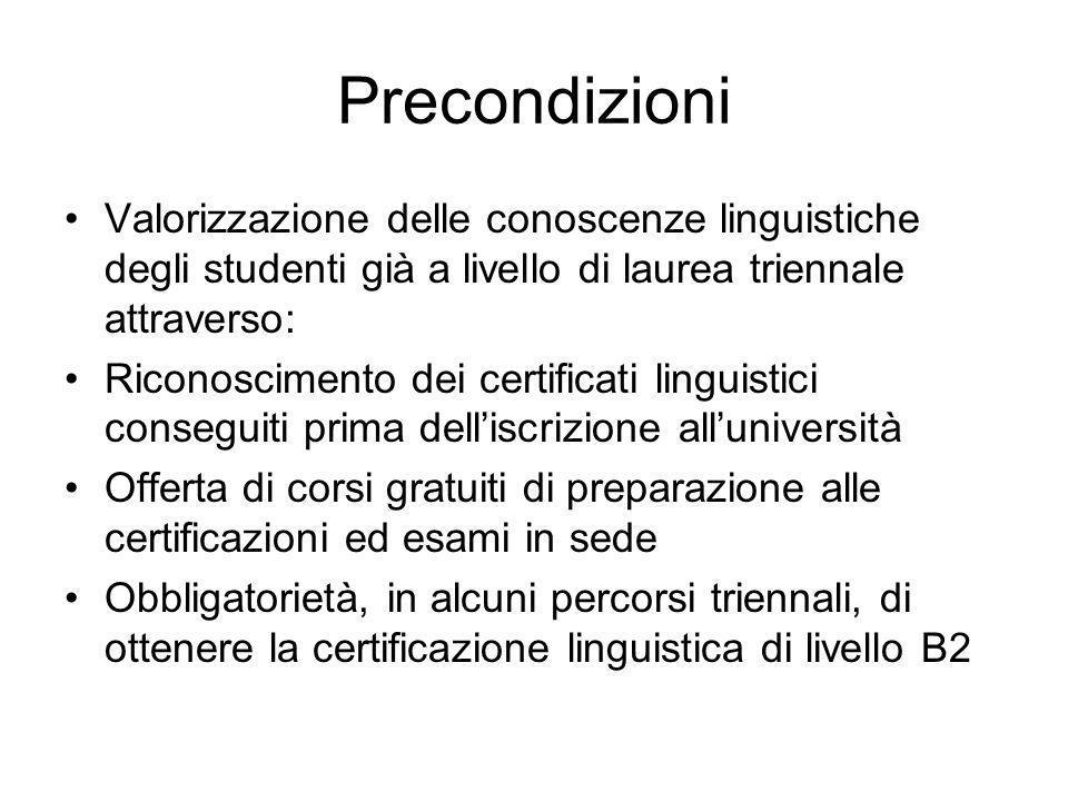 Precondizioni Valorizzazione delle conoscenze linguistiche degli studenti già a livello di laurea triennale attraverso: