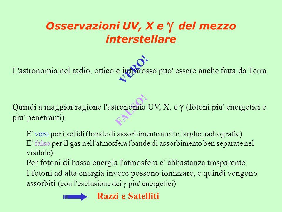 Osservazioni UV, X e g del mezzo interstellare
