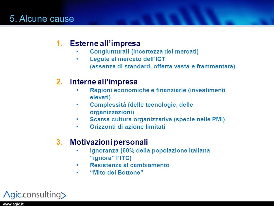 5. Alcune cause Esterne all'impresa Interne all'impresa