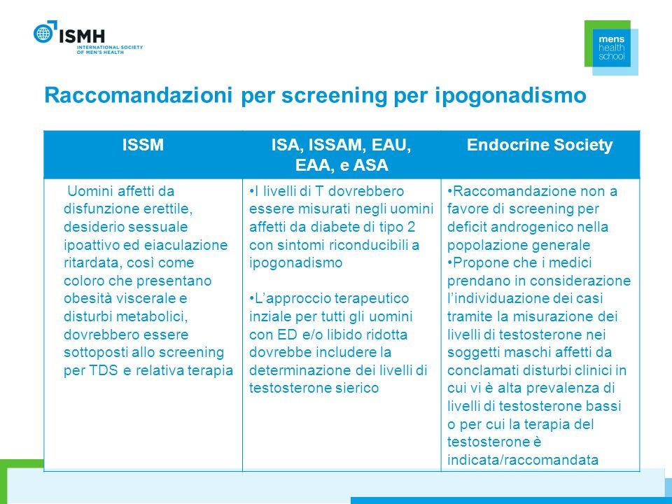 Raccomandazioni per screening per ipogonadismo