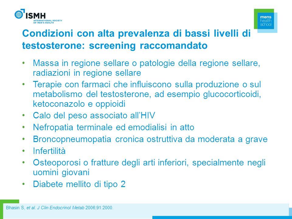 Condizioni con alta prevalenza di bassi livelli di testosterone: screening raccomandato