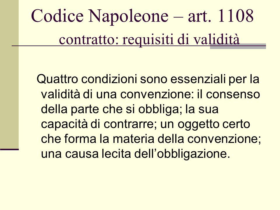 Codice Napoleone – art. 1108 contratto: requisiti di validità