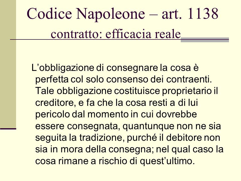 Codice Napoleone – art. 1138 contratto: efficacia reale