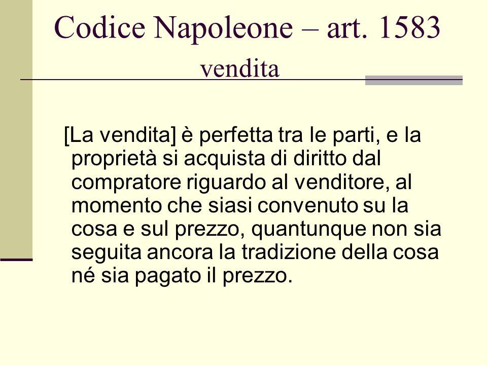 Codice Napoleone – art. 1583 vendita