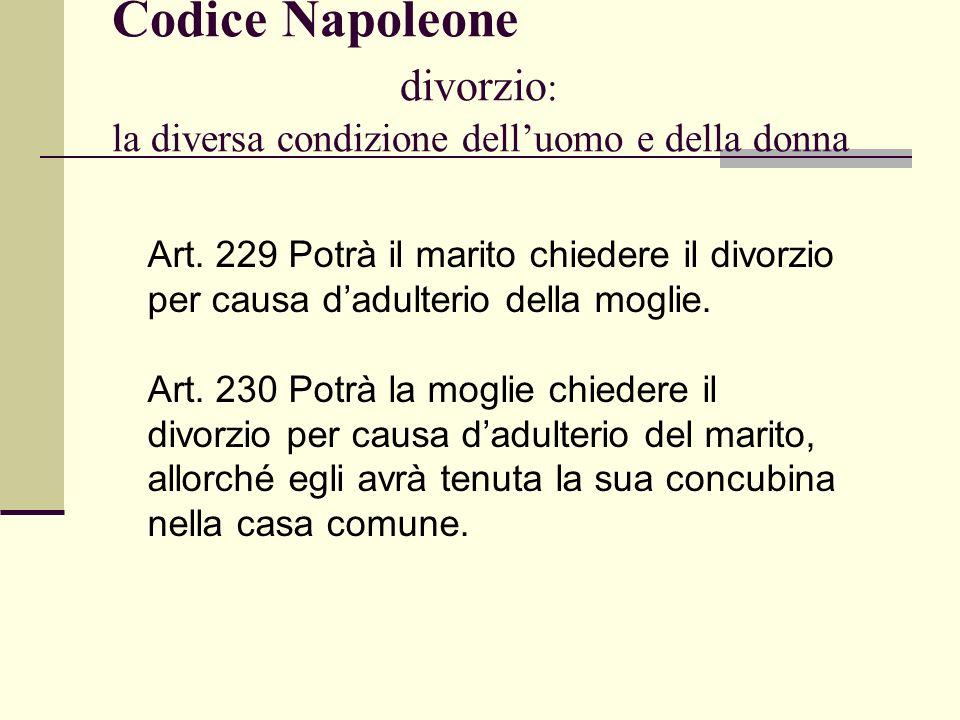 Codice Napoleone divorzio: la diversa condizione dell'uomo e della donna