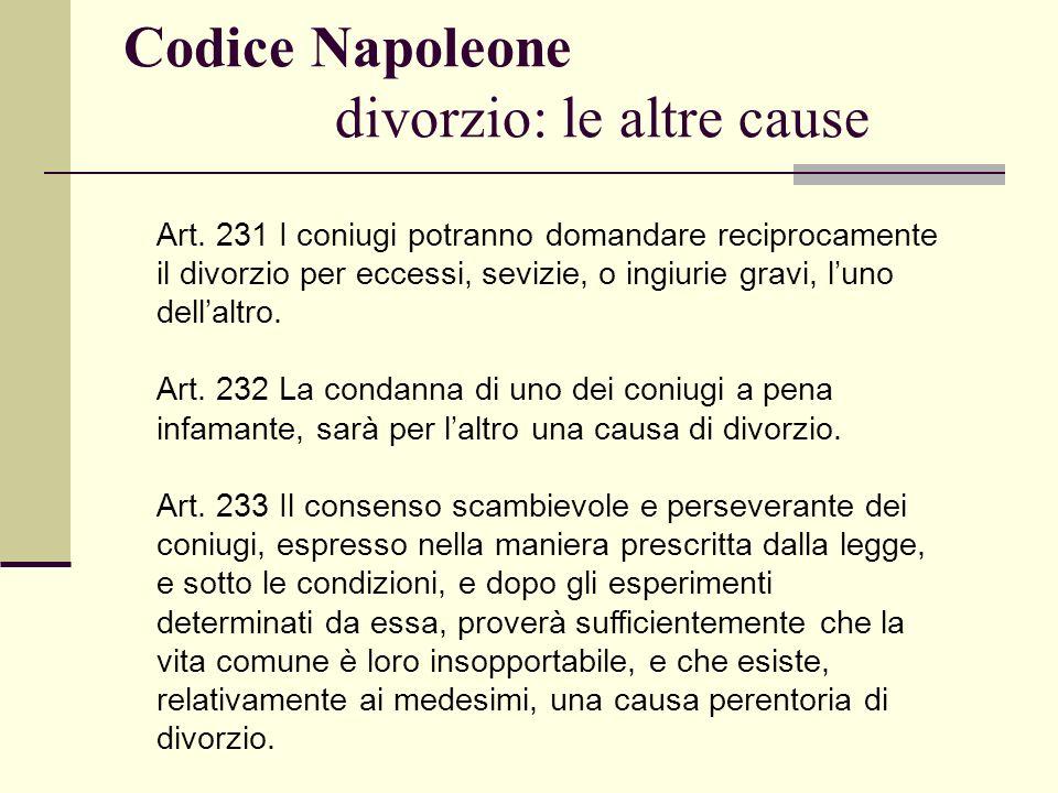 Codice Napoleone divorzio: le altre cause