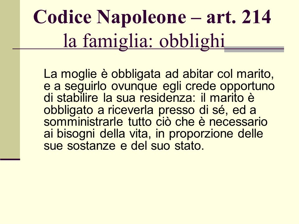 Codice Napoleone – art. 214 la famiglia: obblighi