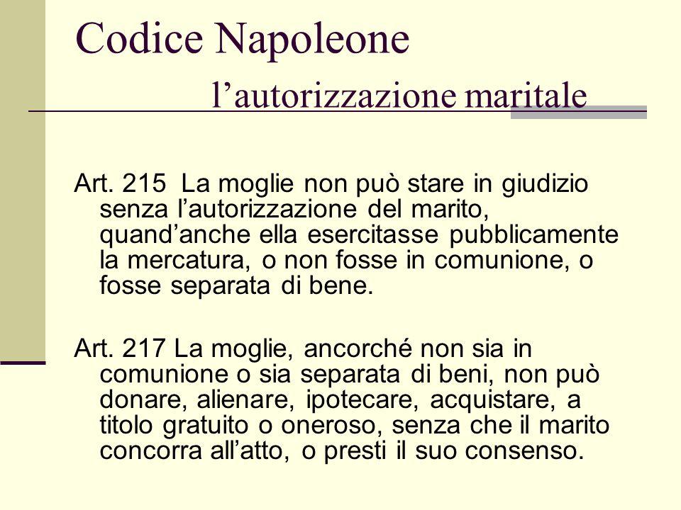 Codice Napoleone l'autorizzazione maritale