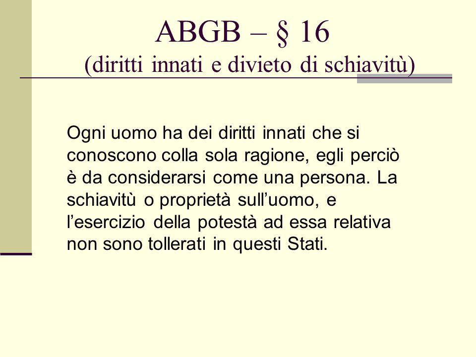 ABGB – § 16 (diritti innati e divieto di schiavitù)