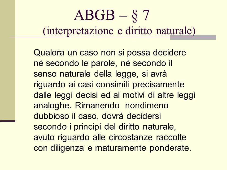 ABGB – § 7 (interpretazione e diritto naturale)
