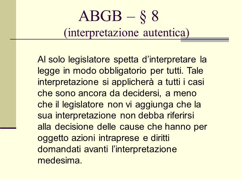 ABGB – § 8 (interpretazione autentica)