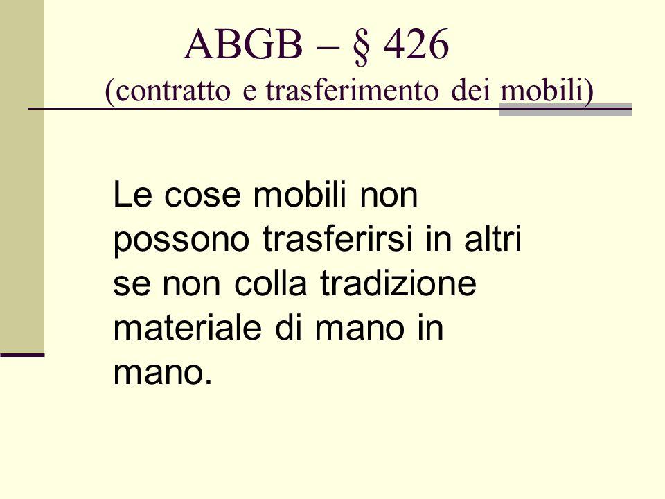 ABGB – § 426 (contratto e trasferimento dei mobili)