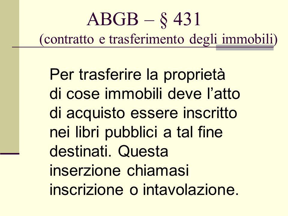 ABGB – § 431 (contratto e trasferimento degli immobili)