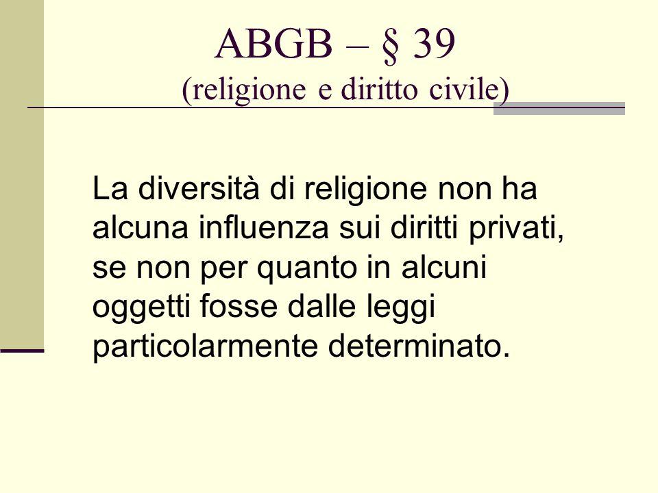 ABGB – § 39 (religione e diritto civile)