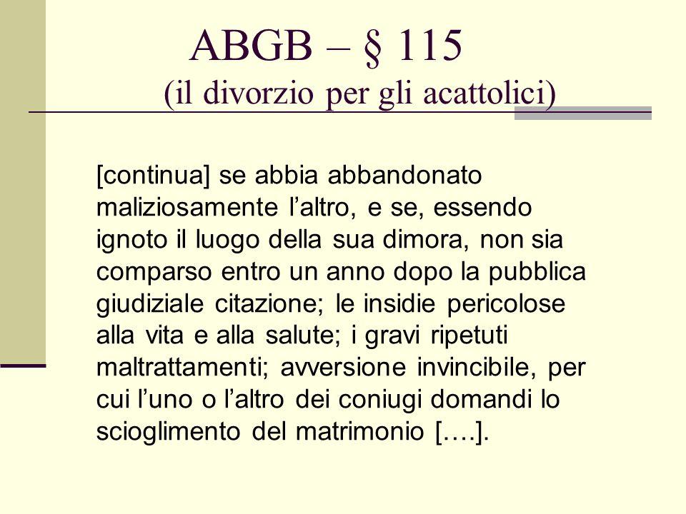ABGB – § 115 (il divorzio per gli acattolici)