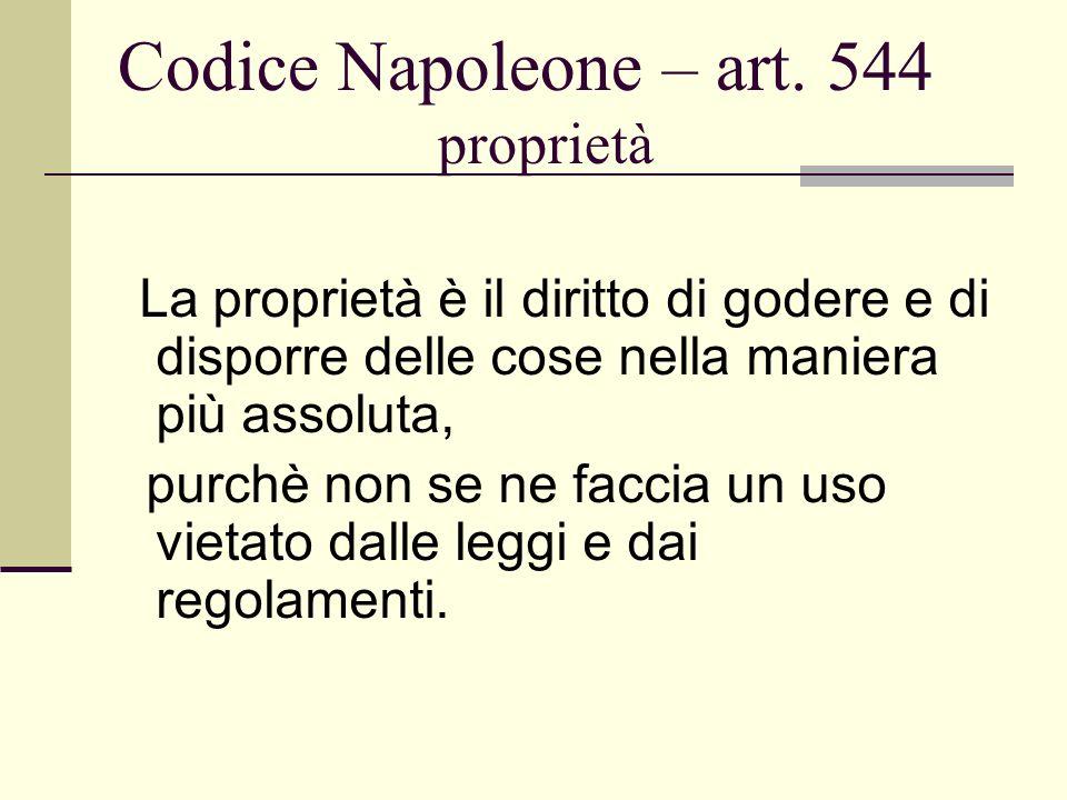 Codice Napoleone – art. 544 proprietà