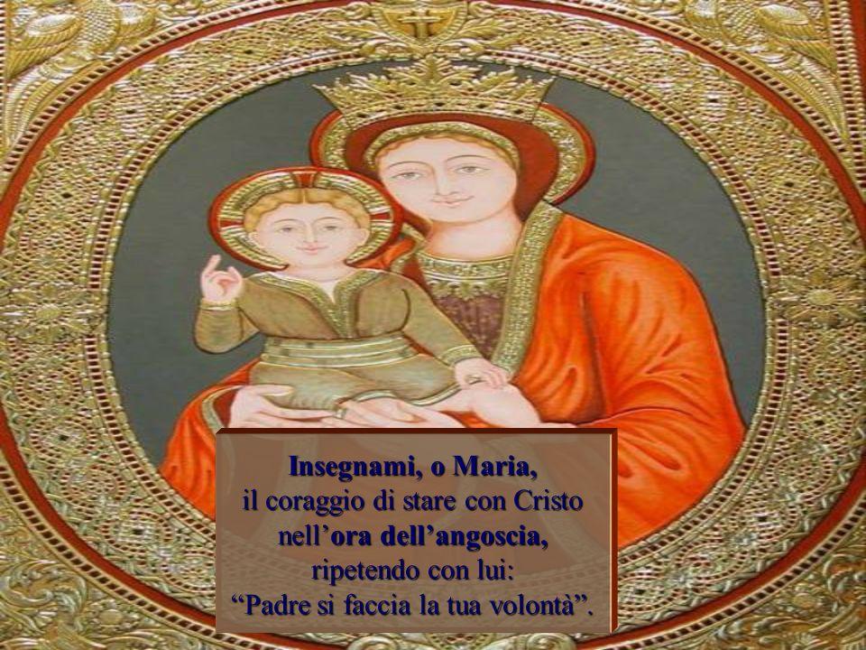 Insegnami, o Maria, il coraggio di stare con Cristo nell'ora dell'angoscia, ripetendo con lui: Padre si faccia la tua volontà .