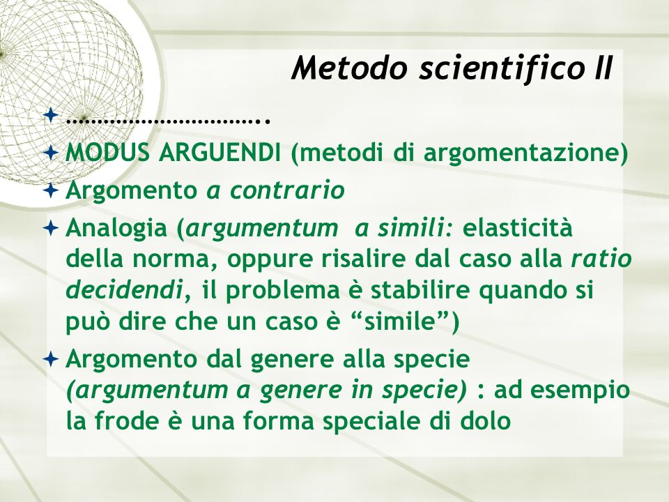 Metodo scientifico II …………………………..