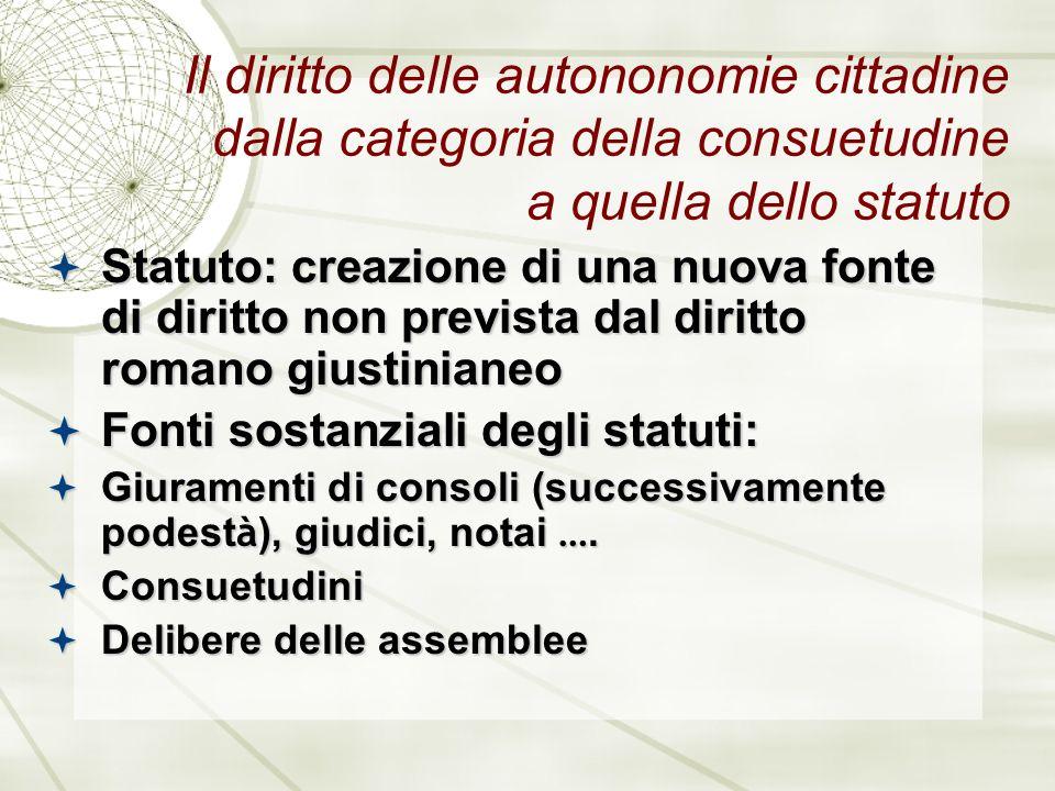 Il diritto delle autononomie cittadine dalla categoria della consuetudine a quella dello statuto